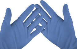 WC Blue Vinyl Gloves Med (100) 2602057